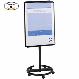 Case-of-8-VIZ-PRO-ECO-Magnetic-Mobile-WhiteboardFlipchart-Easel-Black-28-W-X-40-L-B07G4Y1882