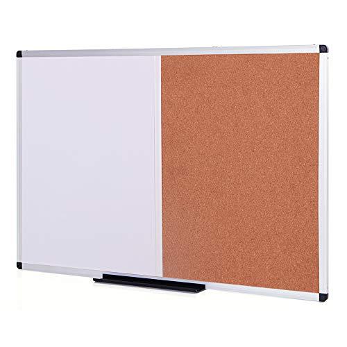 VIZ-PRO-Magnetic-Dry-Erase-Board-and-Cork-Notice-Board-Combination-36-X-24-Inches-Silver-Aluminium-Frame-B07MW15K3D