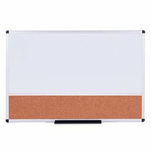 VIZ-PRO-Magnetic-Dry-Erase-Board-and-Cork-Notice-Board-Combination-36-X-24-Inches-White-Bulletin-Board-for-School-Offi-B07MX8LWPS
